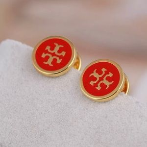 Tory Burch Red Lacquered T Logo Gold Stud Earrings